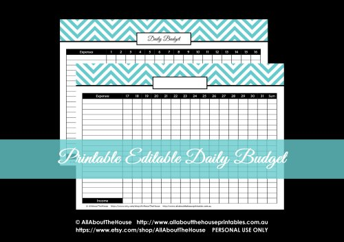 editable daily spending budget tracker printable chevron budget binder finance homekeeping notebook instant download organize