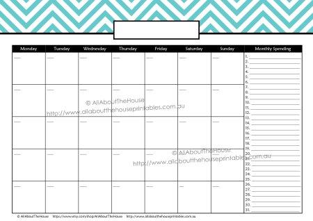 Monthly Finance Calendar - Mon - L Blue - E