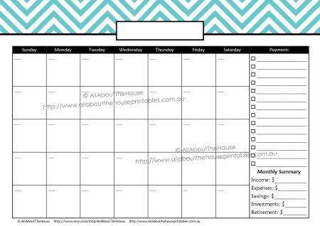 Monthly Finance Calendar - Payments - chevron monday + sunday start printable planner budget bill pay calendar spending tracker