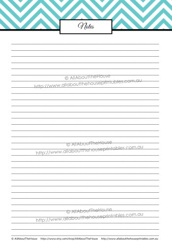 Note Paper printable chevron editable pdf letter size printable letterhead diary planner accessory add on