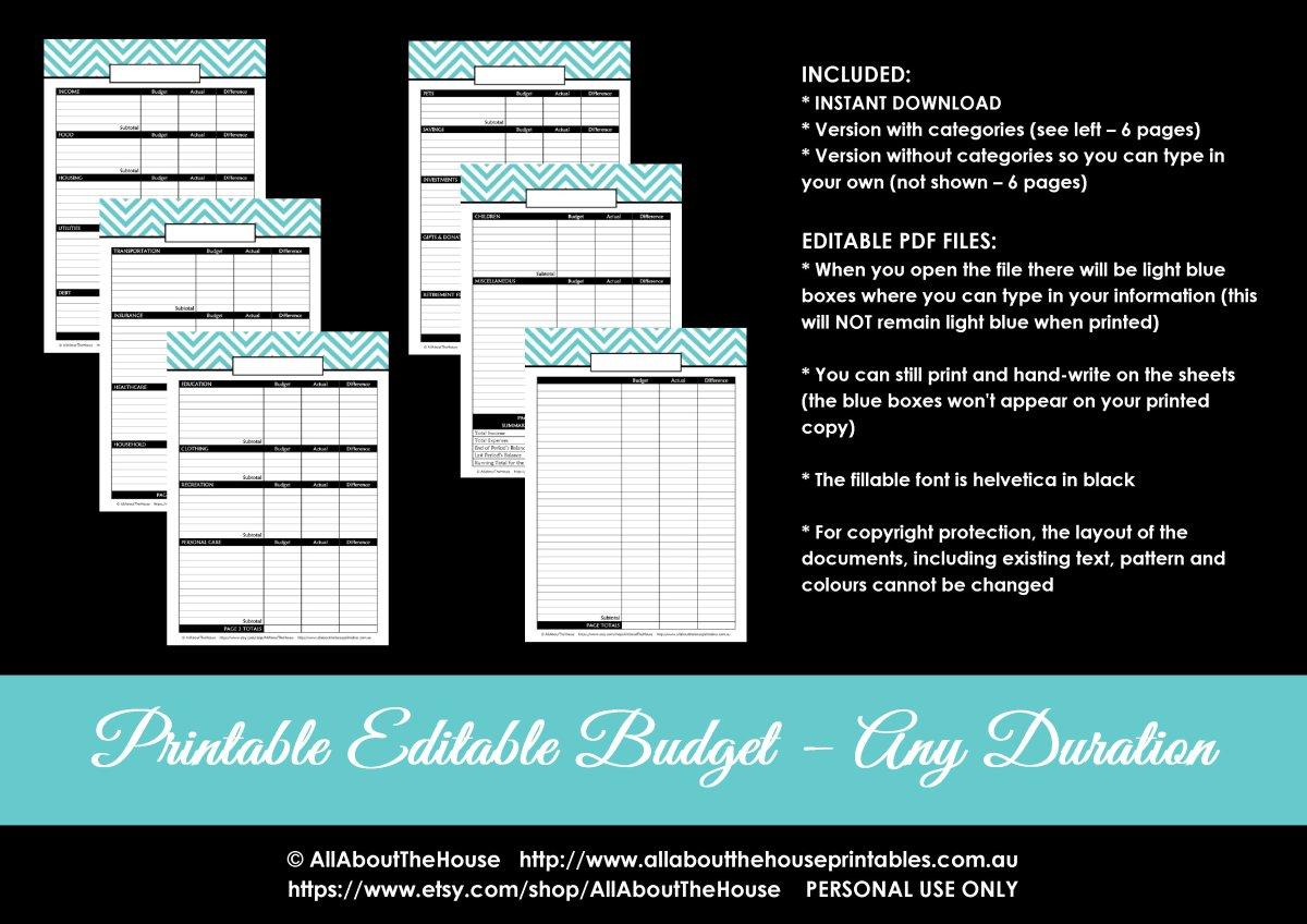 Printable Monthly Budget Template Chevron Pdf Editable Organize