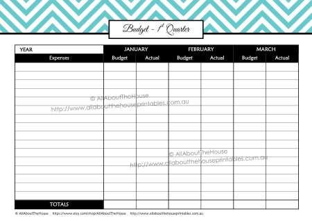 quarterly budget printable actual difference budget planner finance binder editable chevron income expenses tracker undated perpetual letter size page