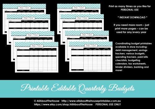 quarterly budget printable binder organization chevron editable pdf finance binder household binder money management income debt