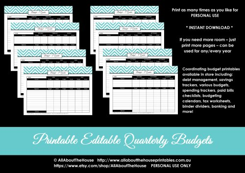 quarterly budget printable binder organization chevron editable pdf finance binder household binder money management income debt