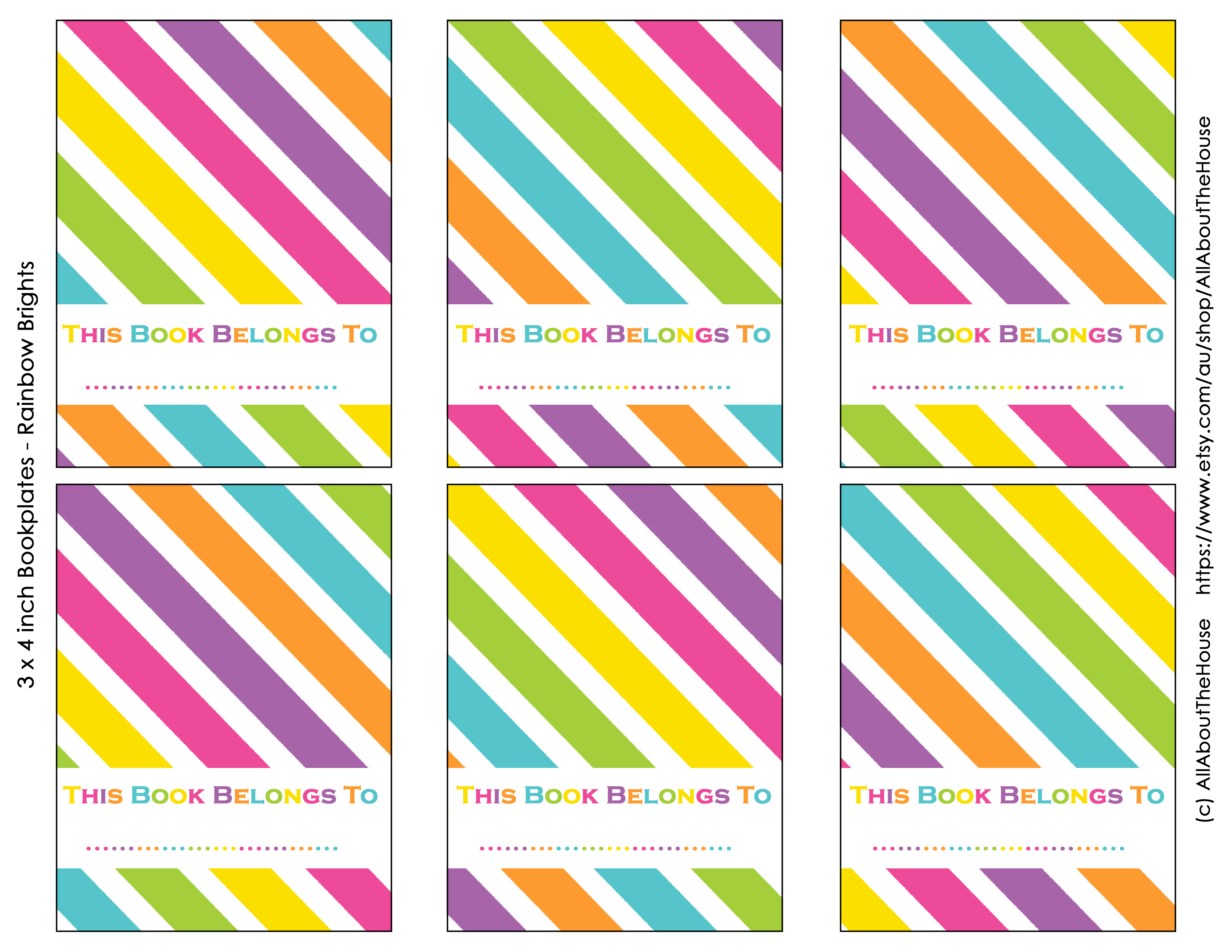 photo relating to Free Printable Bookplates for Adults titled Free of charge Printable Rainbow Bookplate Labels - All Around Planners