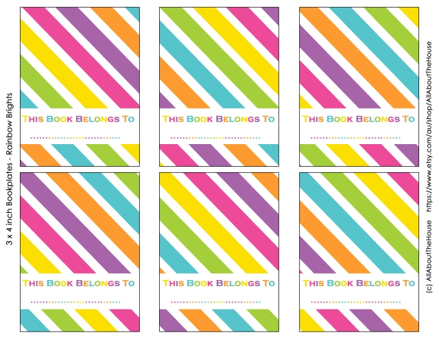 3 x 4 inch rainbow bright bookplates